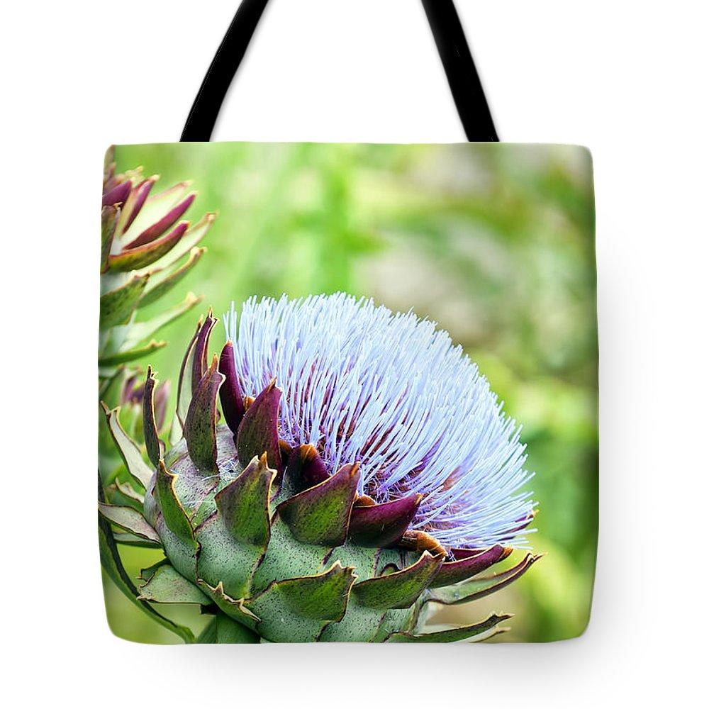 Artichoke Tote Bag featuring the photograph Artichoke Flower by Antony McAulay