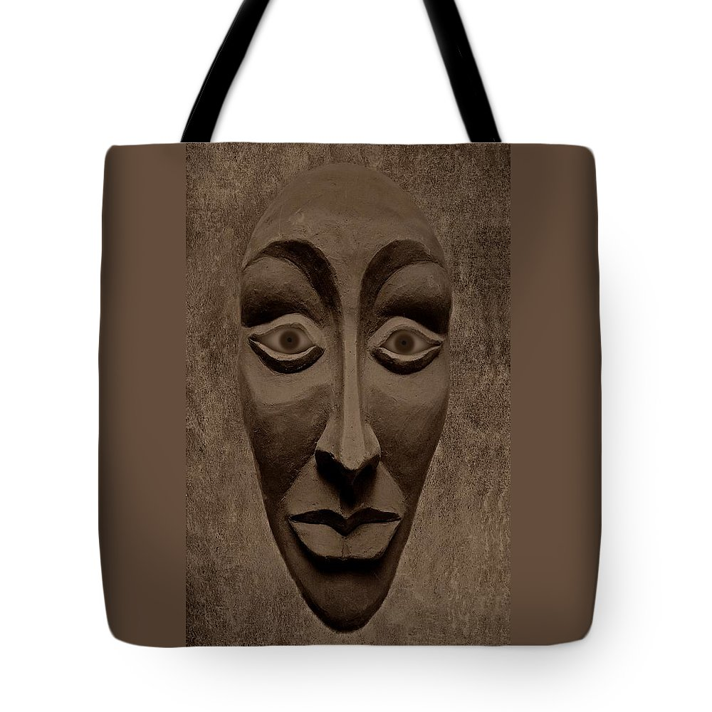 Mask Tote Bag featuring the photograph Artificial Intelligence Entity Sepia by David Dehner