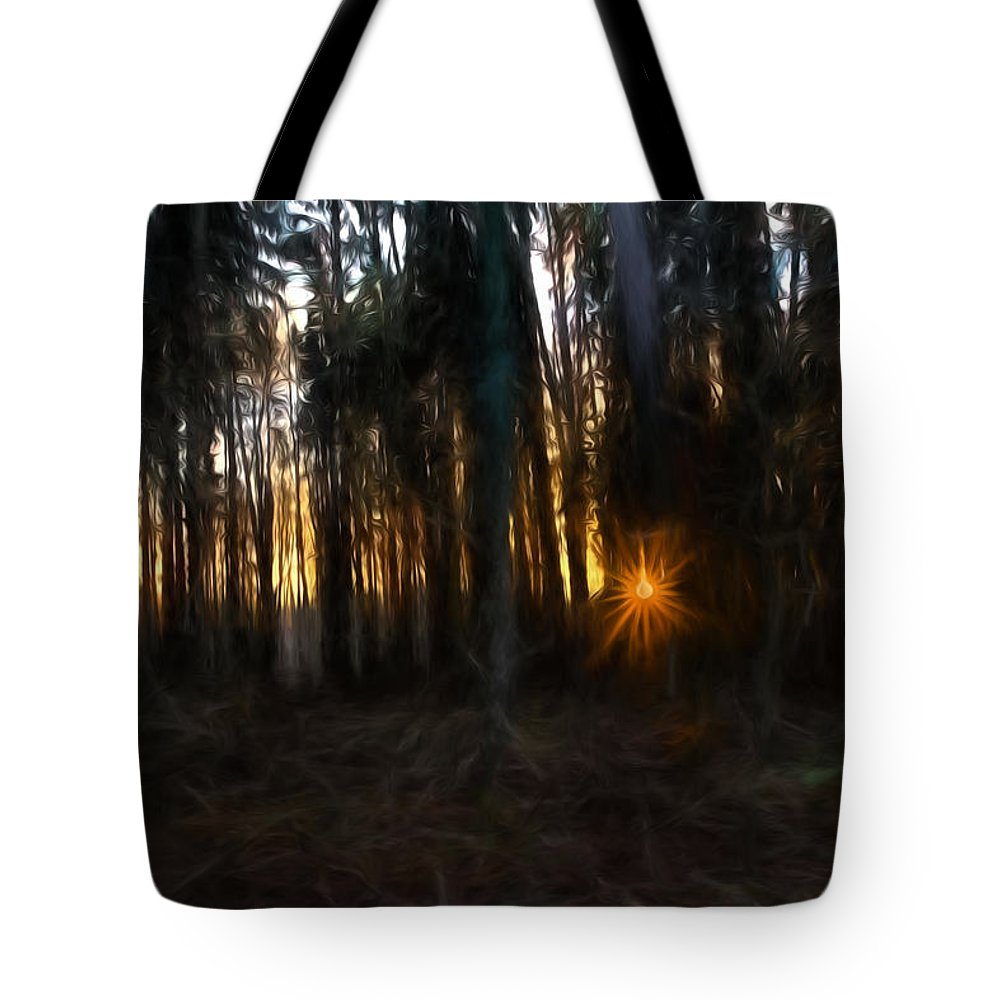 Artistic Tote Bag featuring the photograph Artistic Painterly Sun Between Trees by Leif Sohlman