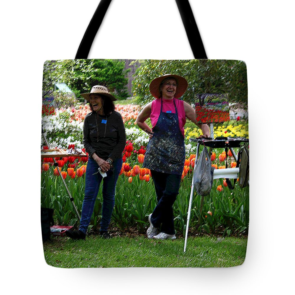 People Tote Bag featuring the photograph Artists Posing For Papparazzi II by Suzanne Gaff