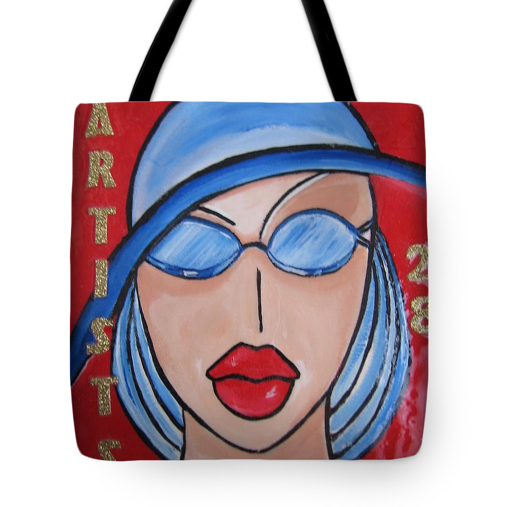 Pikotine Tote Bag featuring the painting Artists Stores by Pikotine Art