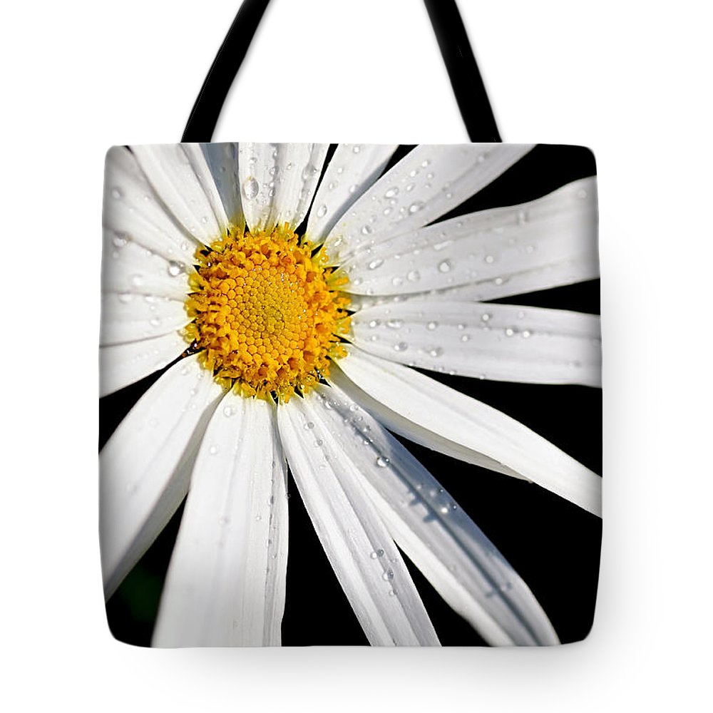 White Daisy Tote Bag featuring the photograph As Bright As A Daisy... by Kaye Menner