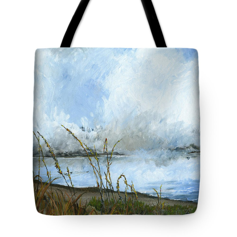 Landscape Puget Sound Tote Bag featuring the painting As The Mist Rises by Carlene Salazar