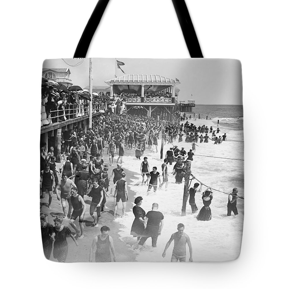 asbury Park Tote Bag featuring the photograph Asbury Park - New Jersey - 1908 by Daniel Hagerman