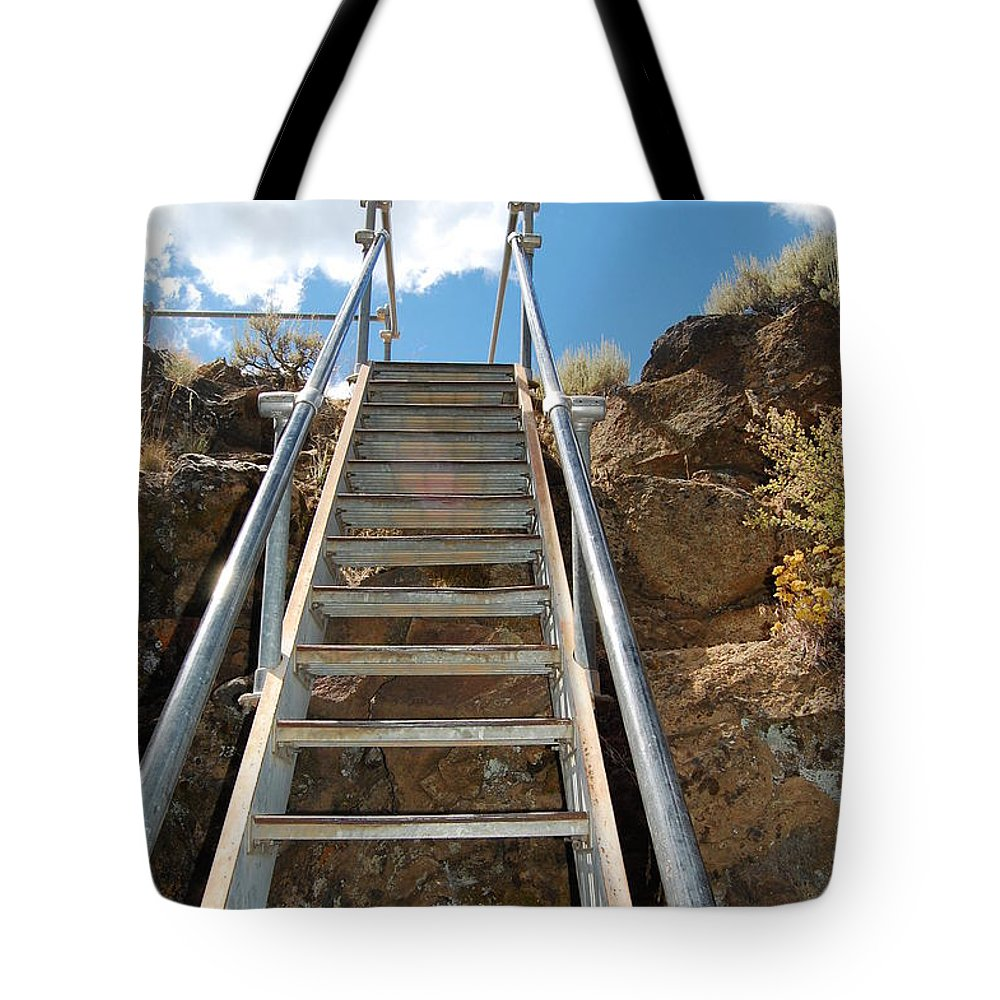 Ladder Tote Bag featuring the photograph Ascending by Debra Thompson