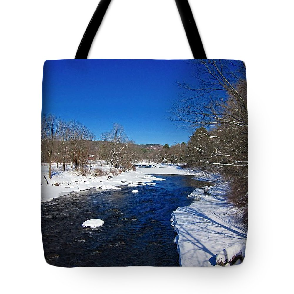 Ashuelot River Tote Bag featuring the photograph Ashuelot River In Winter by MTBobbins Photography