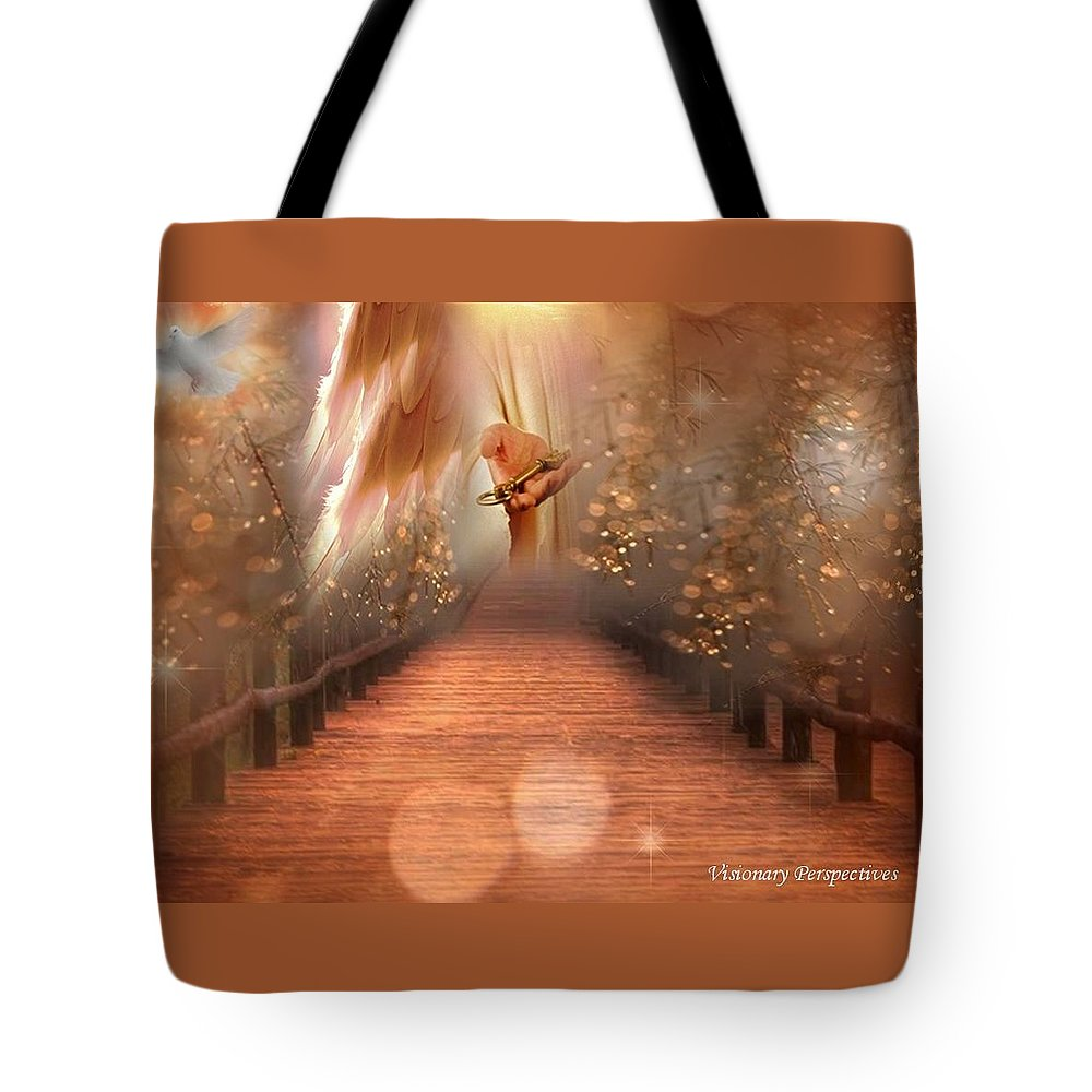 Keys Tote Bag featuring the digital art Ask And It Shall Be Given by Jewell McChesney