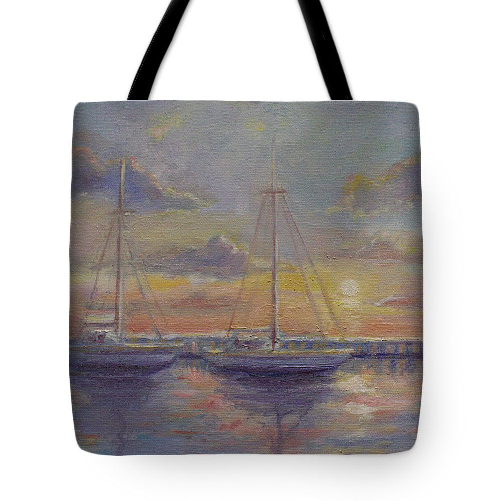 Boats Tote Bag featuring the painting Asleep At The Marina by Sarah Parks