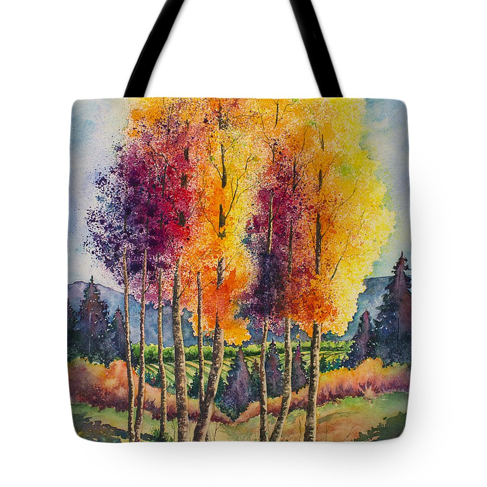 Aspen Tote Bag featuring the painting Aspen Overlook by Michael Bulloch