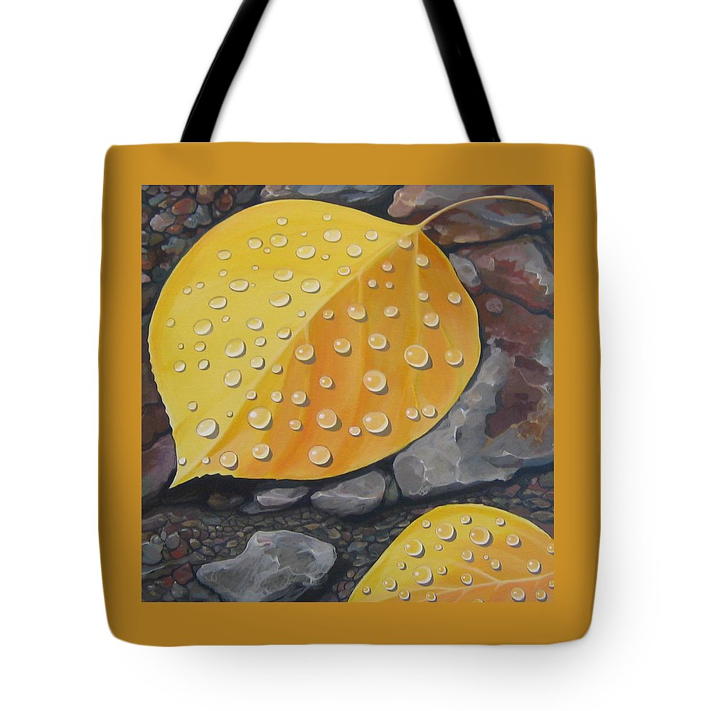Aspen Tote Bag featuring the painting Aspen Rain by Hunter Jay