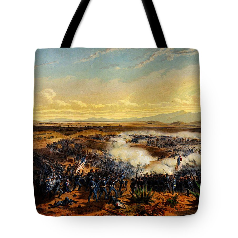 Assault Of Contreras 1851 Tote Bag featuring the painting Assault Of Contreras 1851 by MotionAge Designs