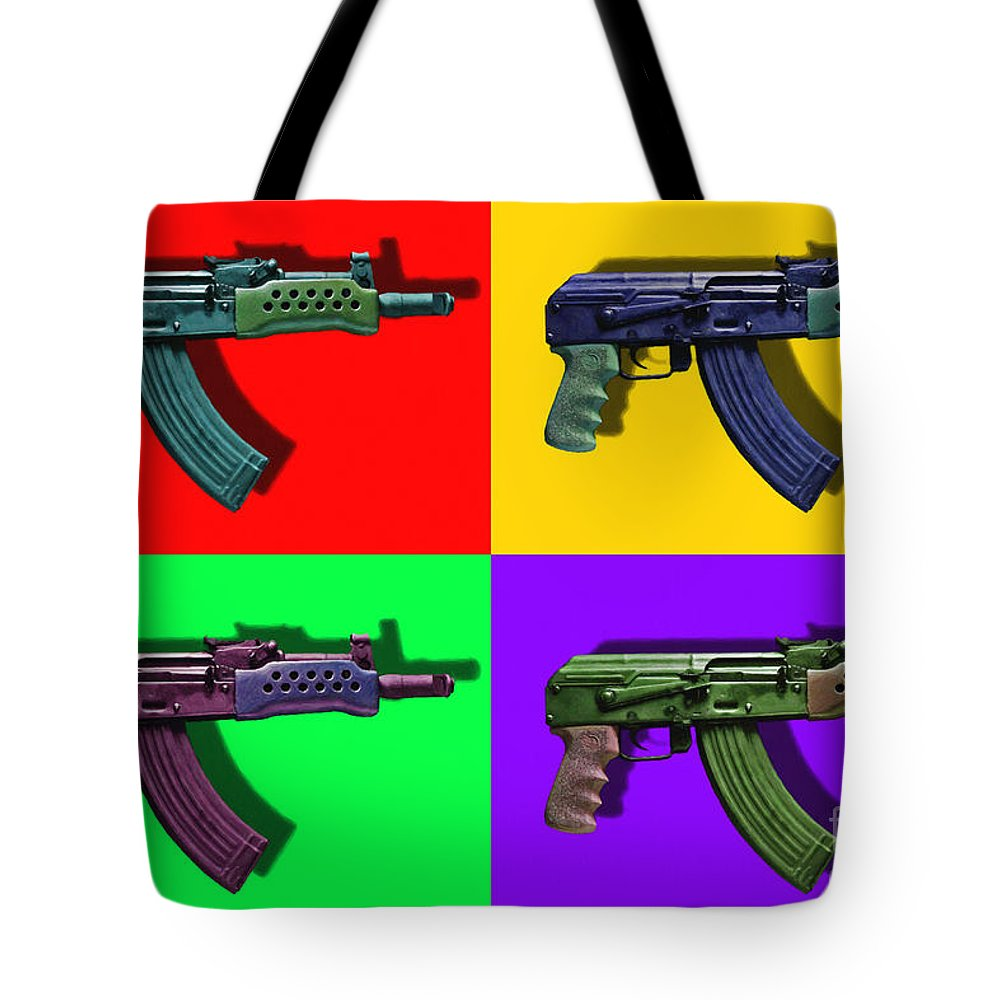Gun Tote Bag featuring the photograph Assault Rifle Pop Art Four - 20130120 by Wingsdomain Art and Photography