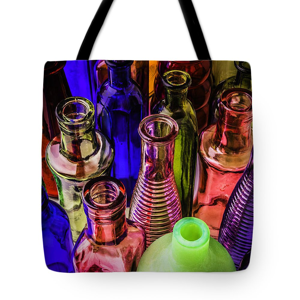 Assorted Tote Bag featuring the photograph Assorted Colored Bottles by Garry Gay