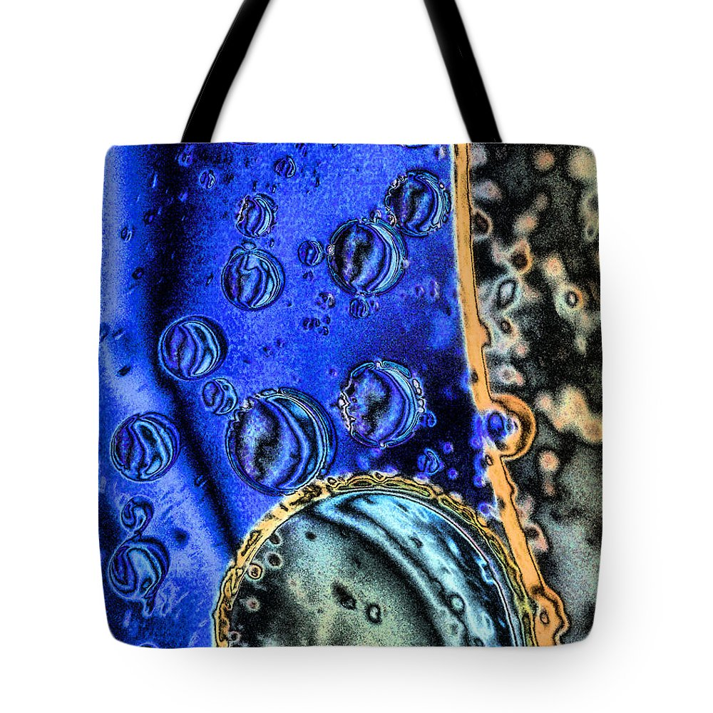 Bubble Tote Bag featuring the mixed media Asteroid Belt by Brian Raggatt