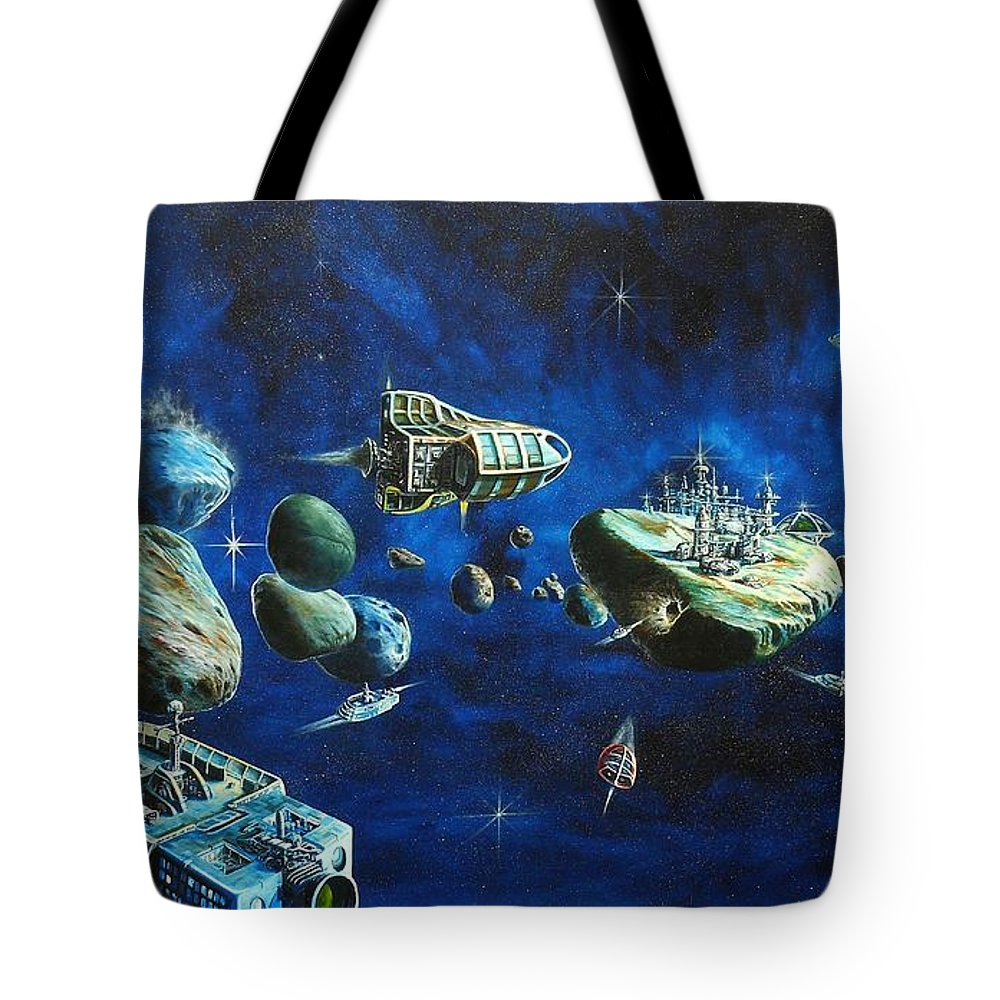 Fantasy Tote Bag featuring the painting Asteroid City by Murphy Elliott