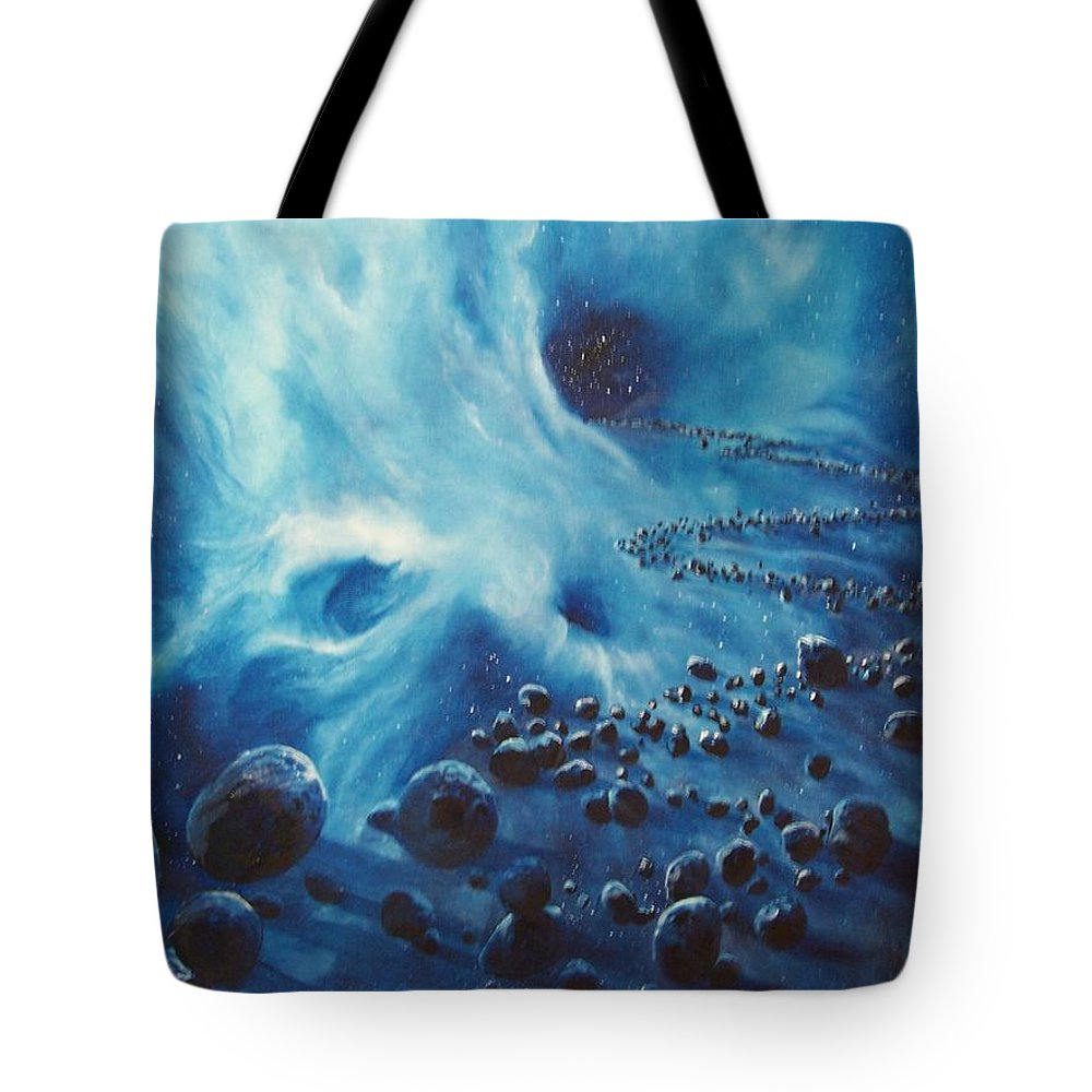Si-fi Tote Bag featuring the painting Asteroid River by Murphy Elliott