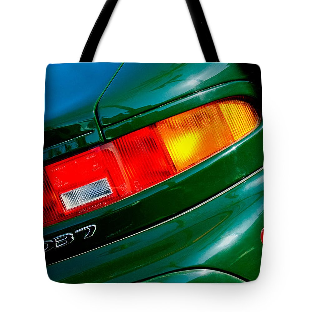 Aston Martin Db7 Taillight Tote Bag featuring the photograph Aston Martin Db7 Taillight by Jill Reger