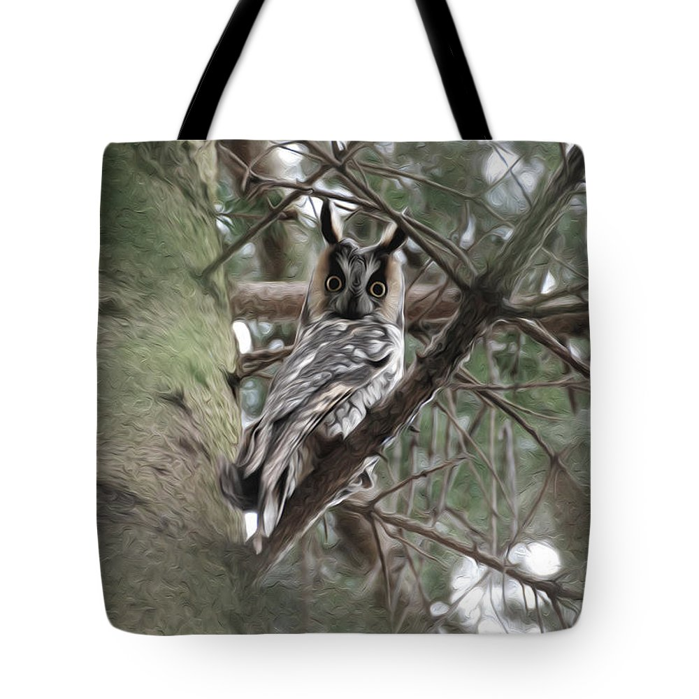 Long Eared Owl Tote Bag featuring the photograph At Attention by Tracy Winter