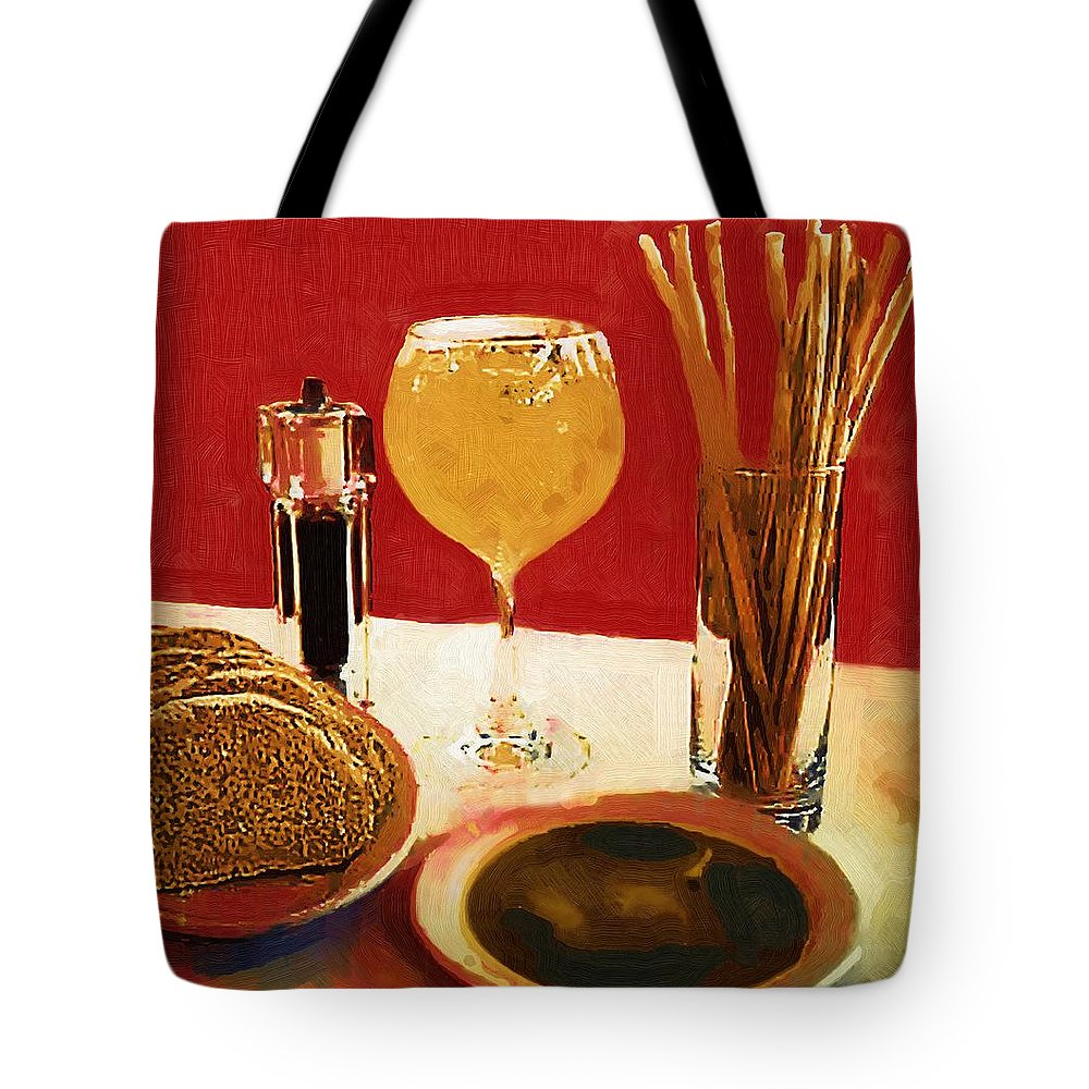 Wine Tote Bag featuring the painting At Our Italian Restaurant by RC DeWinter