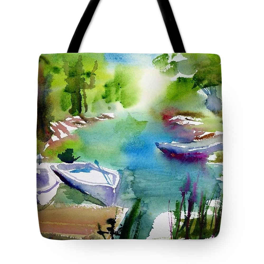 Boats Tote Bag featuring the painting At Rest by J Worthington Watercolors