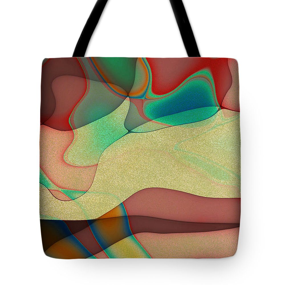 Fractal Tote Bag featuring the digital art At The Beach by Richard Ortolano