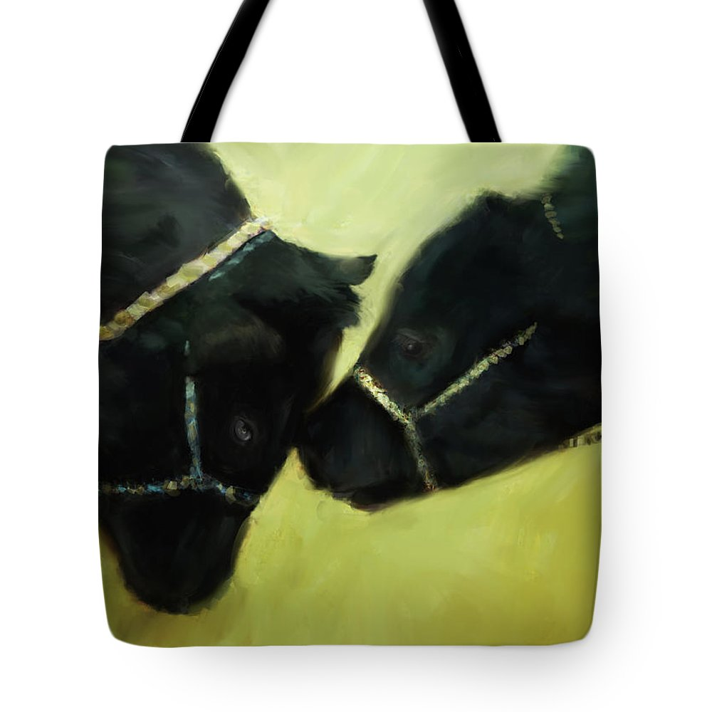 Cow Tote Bag featuring the digital art At The County Fair by Ann Powell