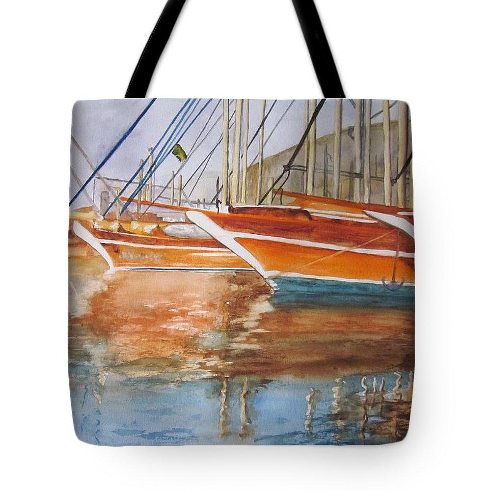 Boats Tote Bag featuring the painting At The Dock by Maris Sherwood