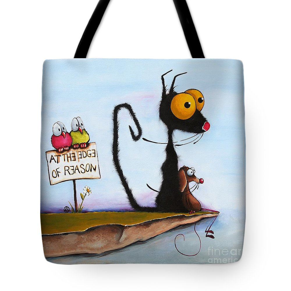 Cat Tote Bag featuring the painting At The Edge Of Reason by Lucia Stewart