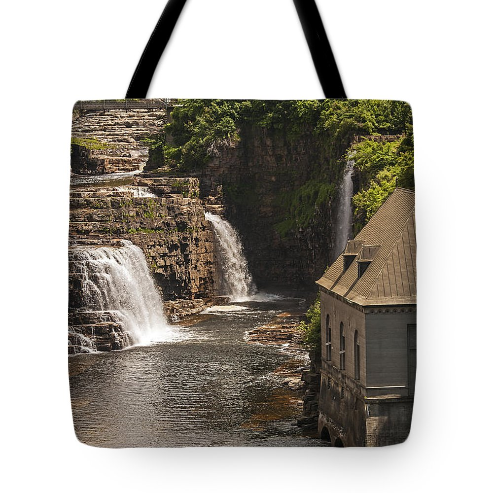 Ausable Chasm Ny Tote Bag featuring the photograph At The Falls In Ausable Ny by Eric Swan