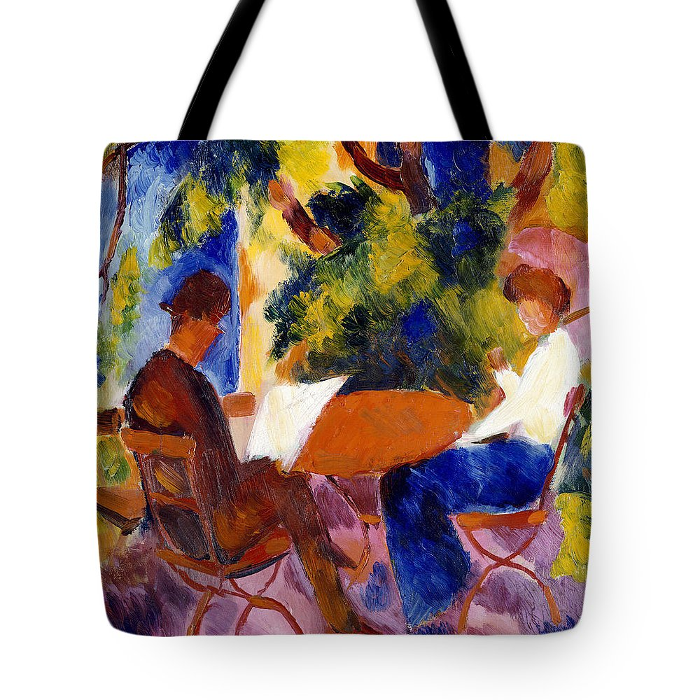 At The Garden Table Tote Bag featuring the painting At The Garden Table by August Macke