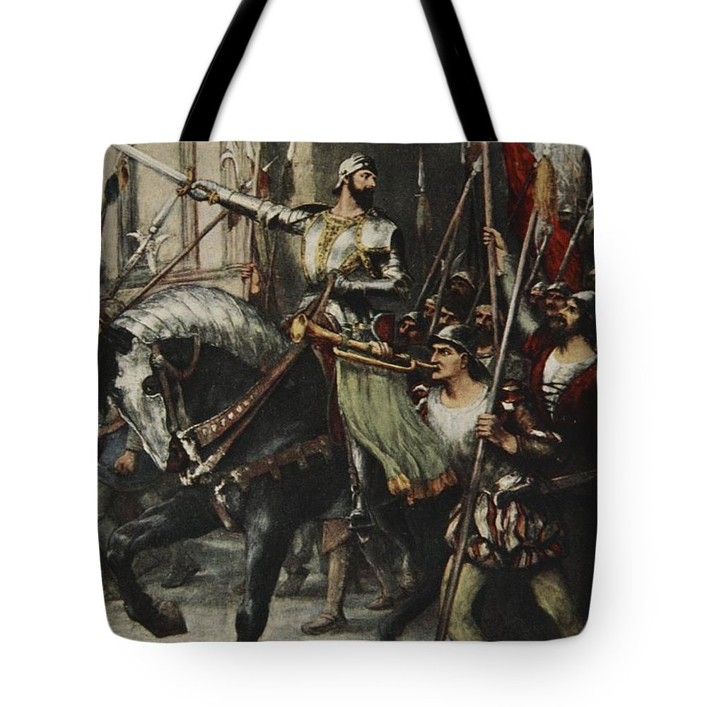 Cola Di Rienzi Tote Bag featuring the drawing At The Head Of A Large Body Of Men Rode by Ferdinand Leeke