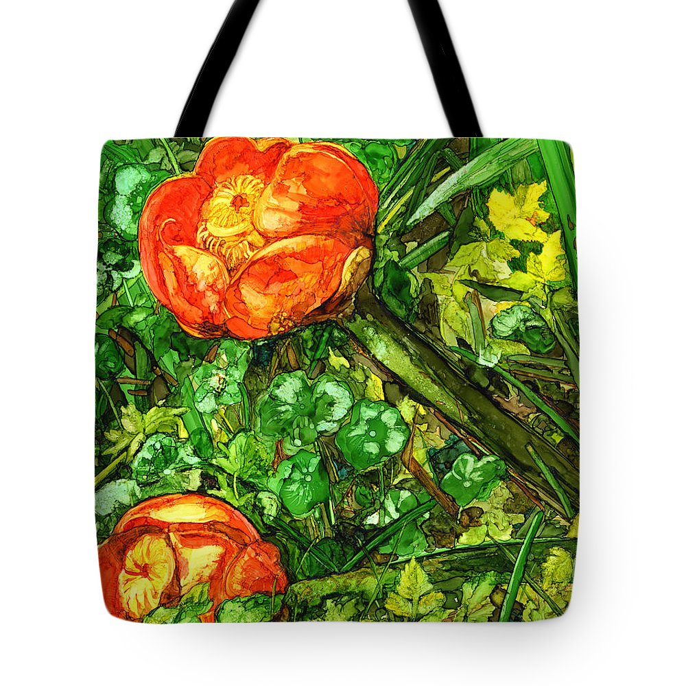 Floral Tote Bag featuring the painting At The Pond's Edge by Vicki Baun Barry