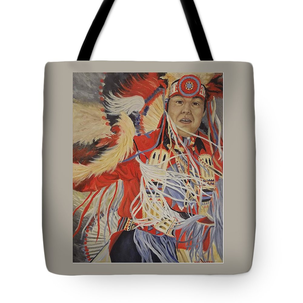 Indian Tote Bag featuring the painting At The Powwow by Wanda Dansereau