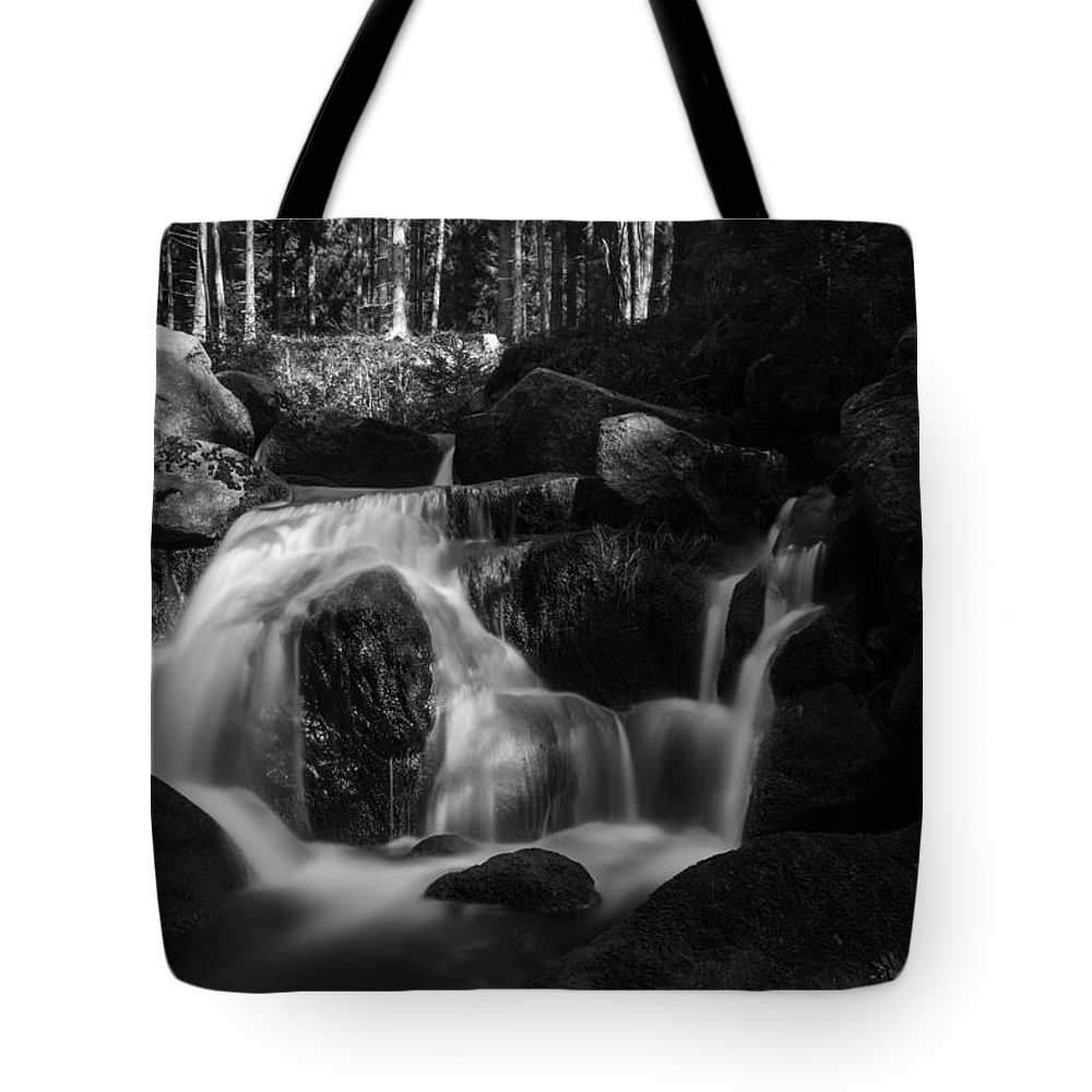 Bode Tote Bag featuring the photograph at the upper Bodefall, Harz by Andreas Levi