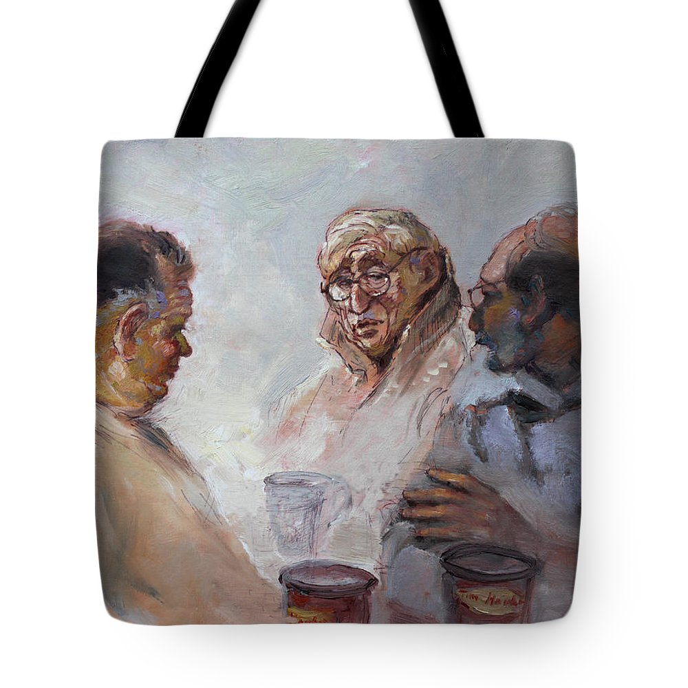 At Tim Hortons Tote Bag featuring the painting At Tim Hortons by Ylli Haruni
