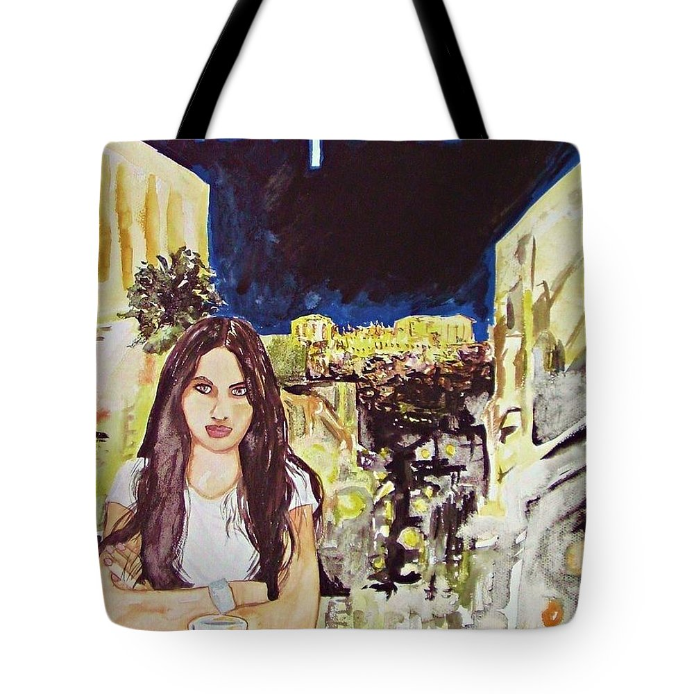 Woman Cityscape Athens Acropolis Greece Travel Coffee Europe Tote Bag featuring the painting Athens 2009 by Ken Higgins