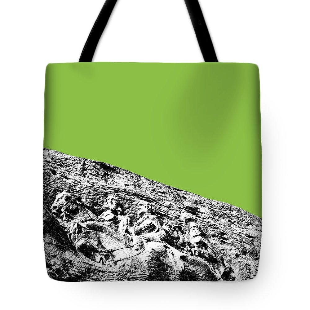 Architecture Tote Bag featuring the digital art Atlanta Stone Mountain Georgia - Apple Green by DB Artist