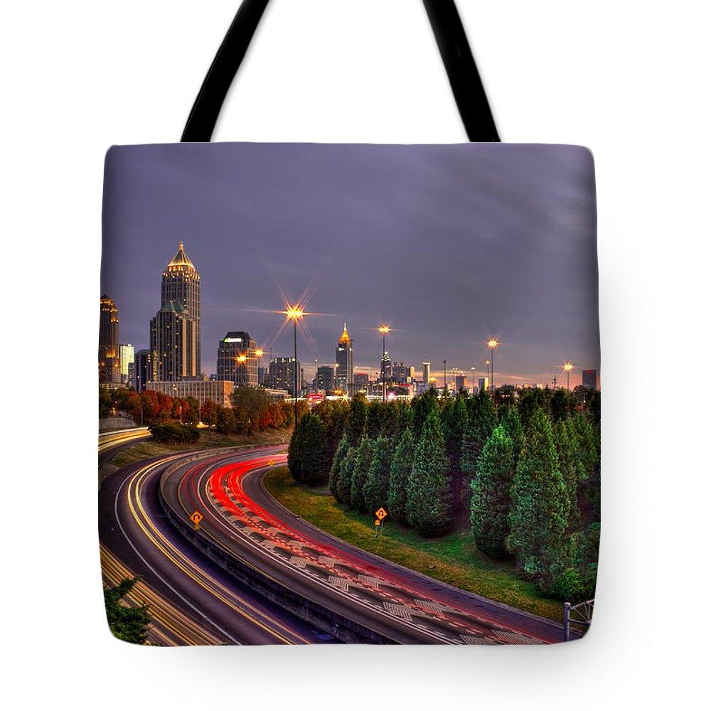 Reid Callaway Midtown Atlanta Sundown Tote Bag featuring the photograph Atlanta Sundown Night Lights Art by Reid Callaway