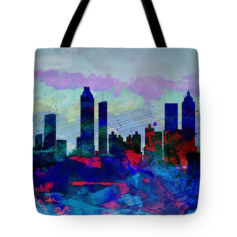 Atlanta Tote Bag featuring the painting Atlanta Watercolor Skyline by Naxart Studio