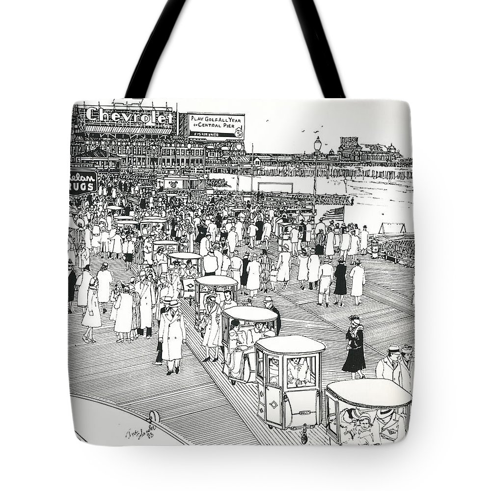Atlantic City Boardwalk Tote Bag featuring the drawing Atlantic City Boardwalk 1940 by Ira Shander
