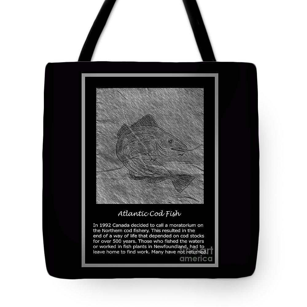 Atlantic Cod Fish Sketch Tote Bag featuring the photograph Atlantic Cod Fish Sketch by Barbara Griffin