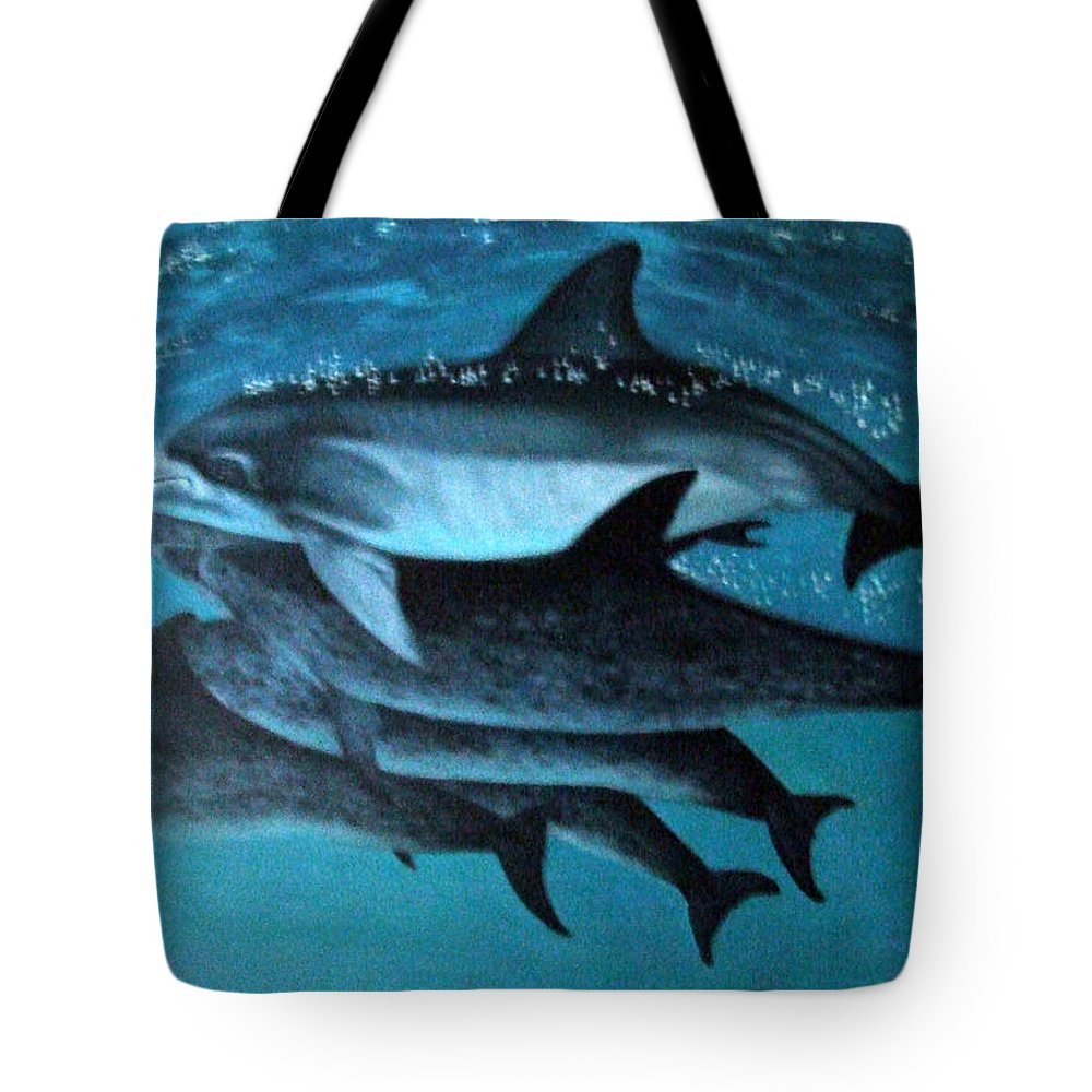 Blue Tote Bag featuring the painting Atlantic Dolphins by Mackenzie Moulton