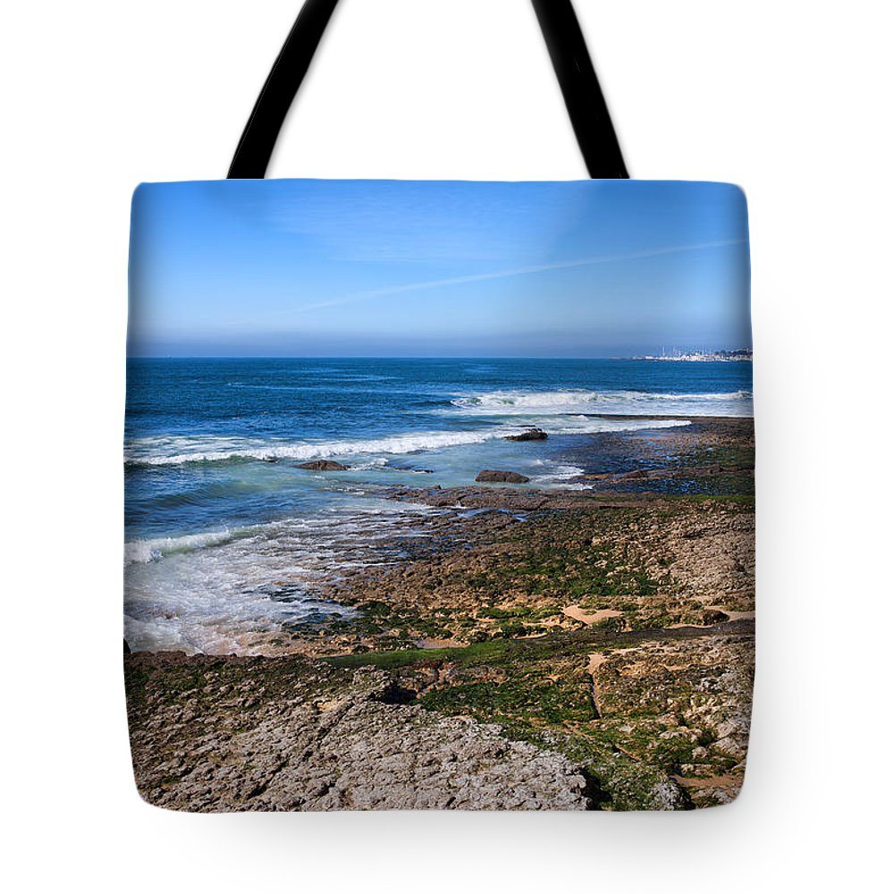 Cascais Tote Bag featuring the photograph Atlantic Ocean Shore In Estoril by Artur Bogacki