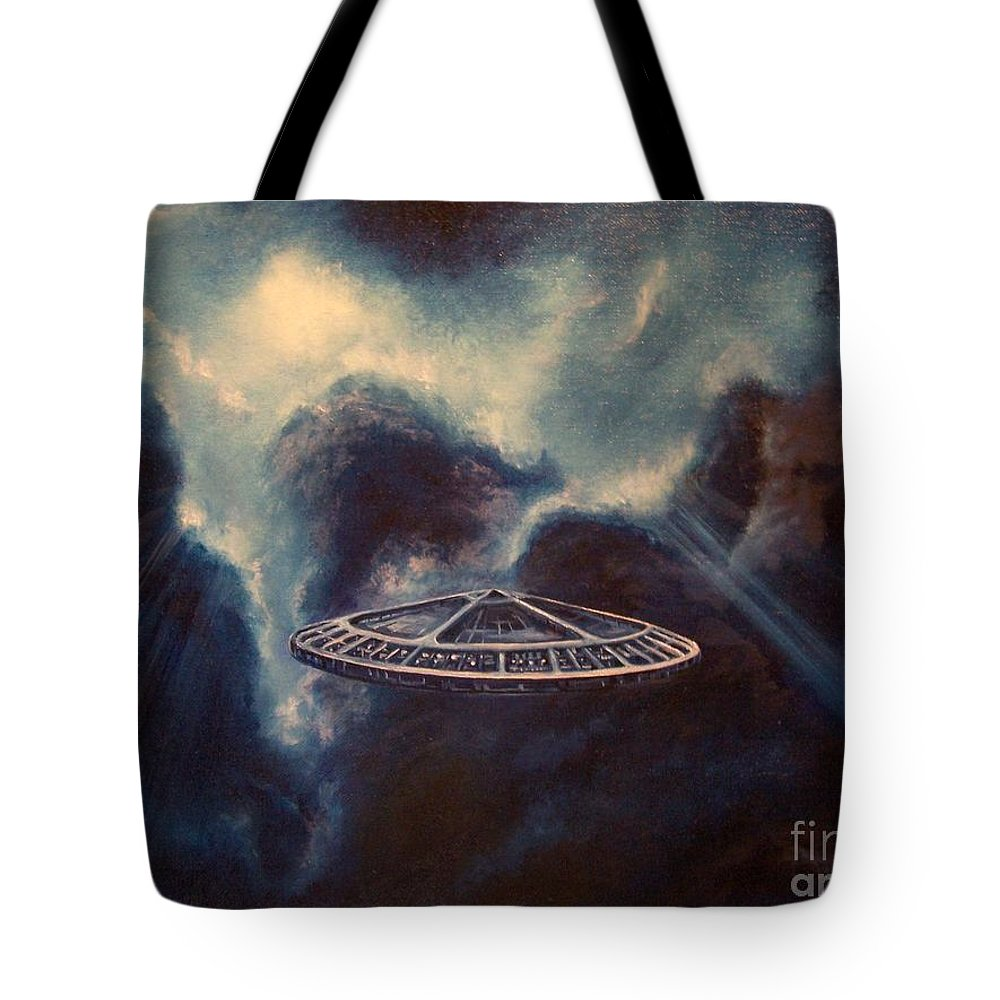 Si-fi Tote Bag featuring the painting Atmospheric Arrival by Murphy Elliott