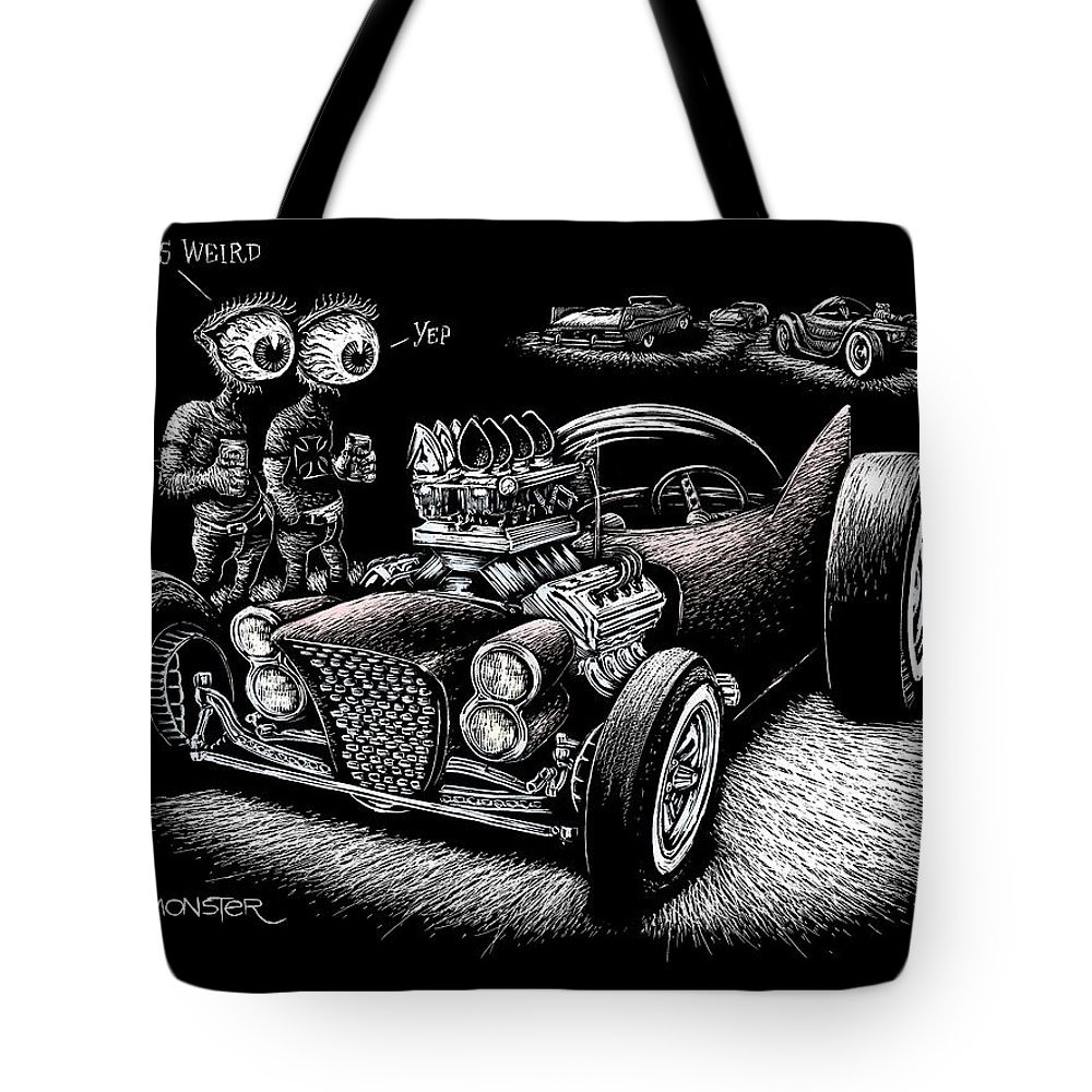 Lowbrow Tote Bag featuring the drawing Atomic Weirdness by Bomonster