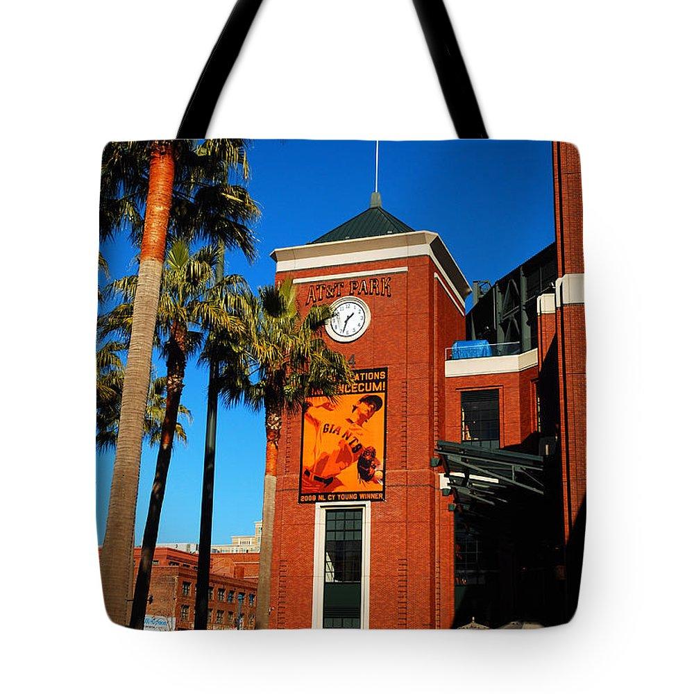 Att Tote Bag featuring the photograph Att Ballpark by James Kirkikis
