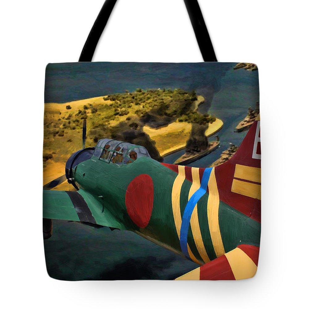 Japanese Tote Bag featuring the digital art Attack On Battleship Row by Tommy Anderson