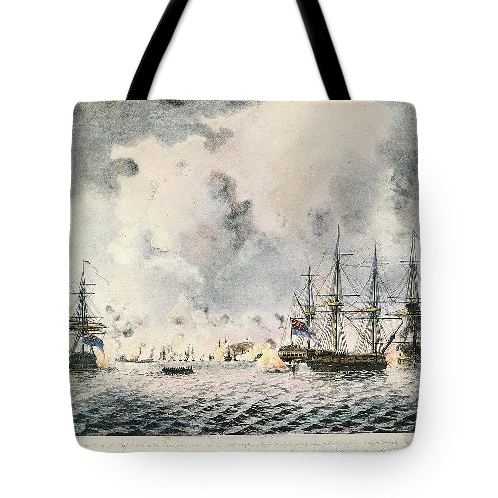 1777 Tote Bag featuring the photograph Attack On Fort Mifflin, 1777 by Granger