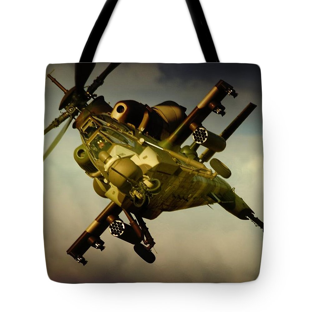 Atlas Rooivalk Tote Bag featuring the photograph Attacking Rooivalk by Paul Job