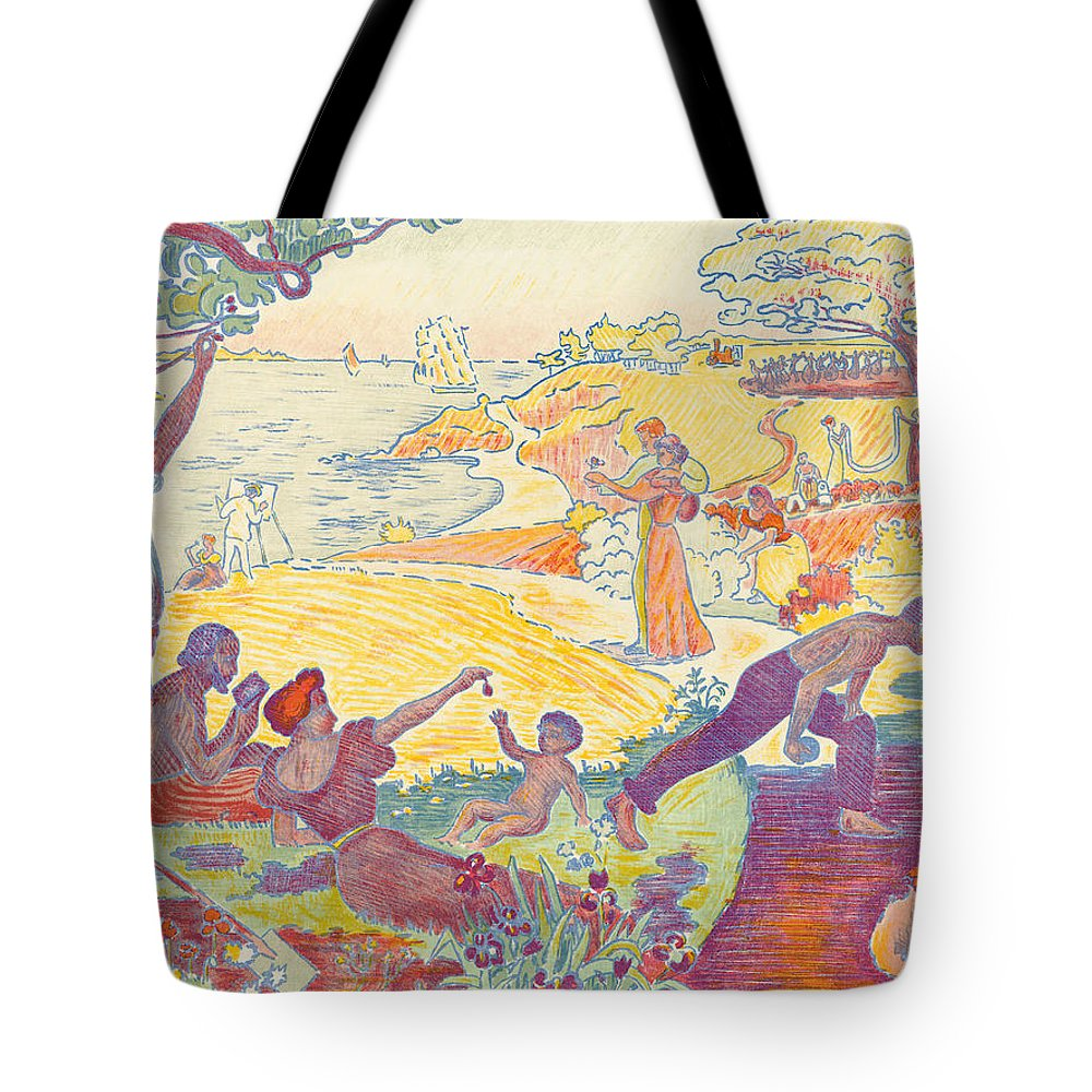 Au Temps D'harmonie Tote Bag featuring the painting Au Temps Dharmonie by Paul Signac